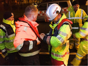 Irish Red Cross and Civil Defence teams working together